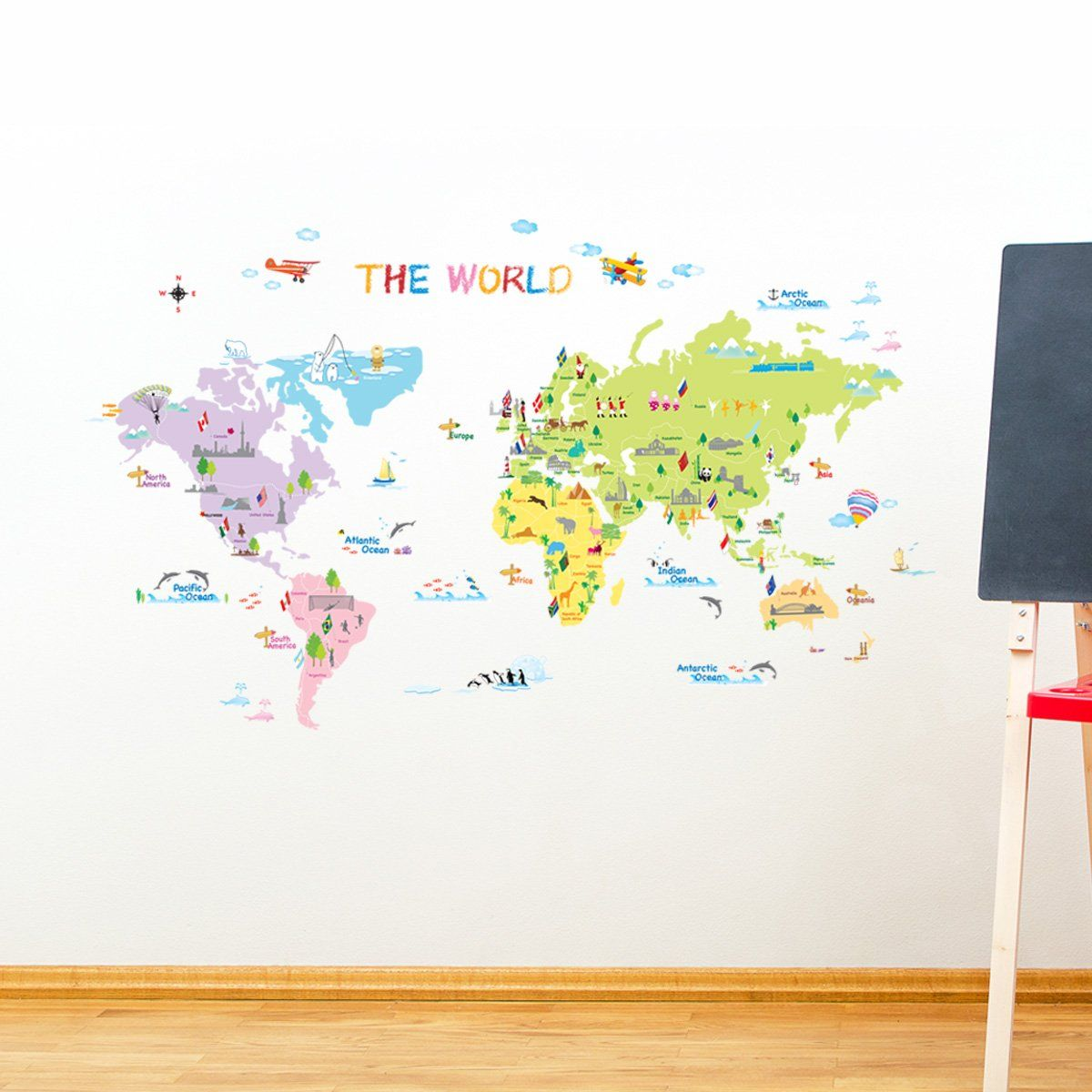 Dw 1203 multicoloured world map wall stickerskids wall decalswall dw 1203 multicoloured world map wall stickerskids wall decalswall transfers gumiabroncs Images
