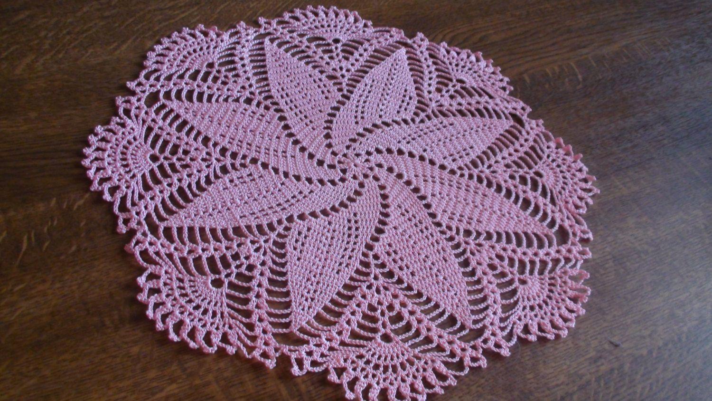 Crocheted doily Pink doily Lace doilie Lace doily Crochet doily ...