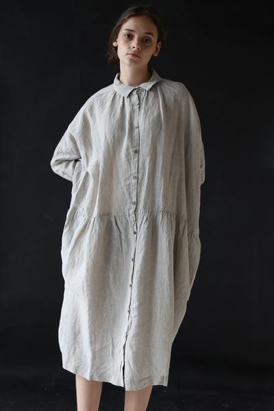 72f52a1c1a Ichi Antiquites Gather Linen Dress Ice Grey