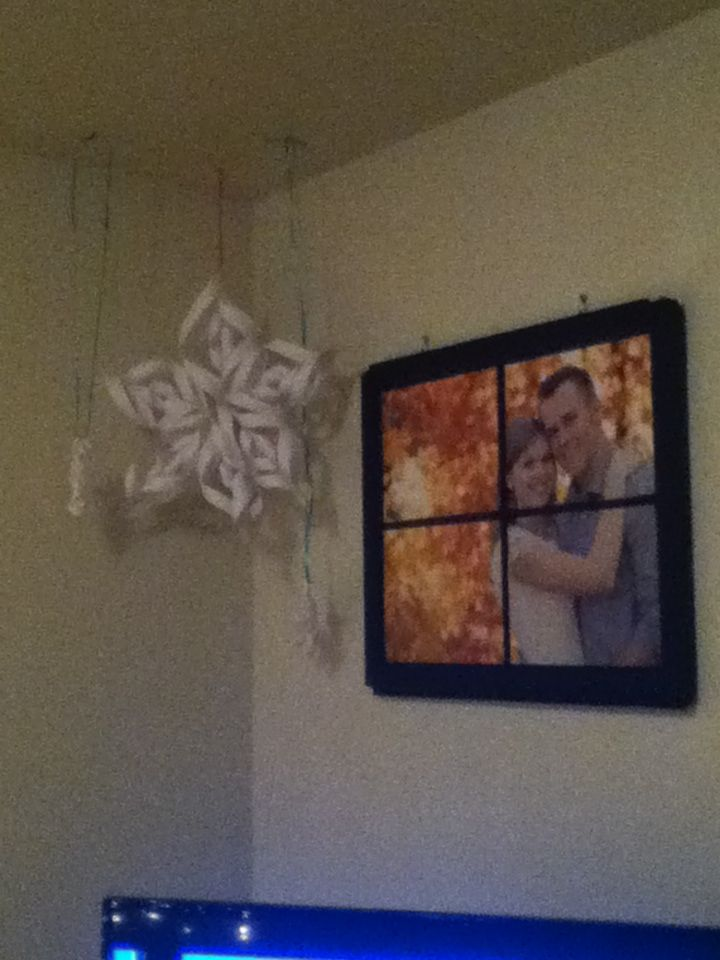 Making snowflakes with my sister, christy