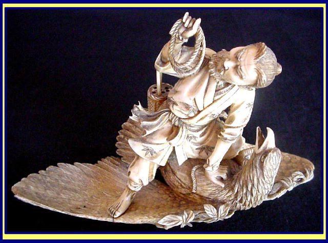 japanese okimono | JAPANESE IVORY OKIMONO HUNTER CAPTURING EAGLE For Sale | Antiques.com ...