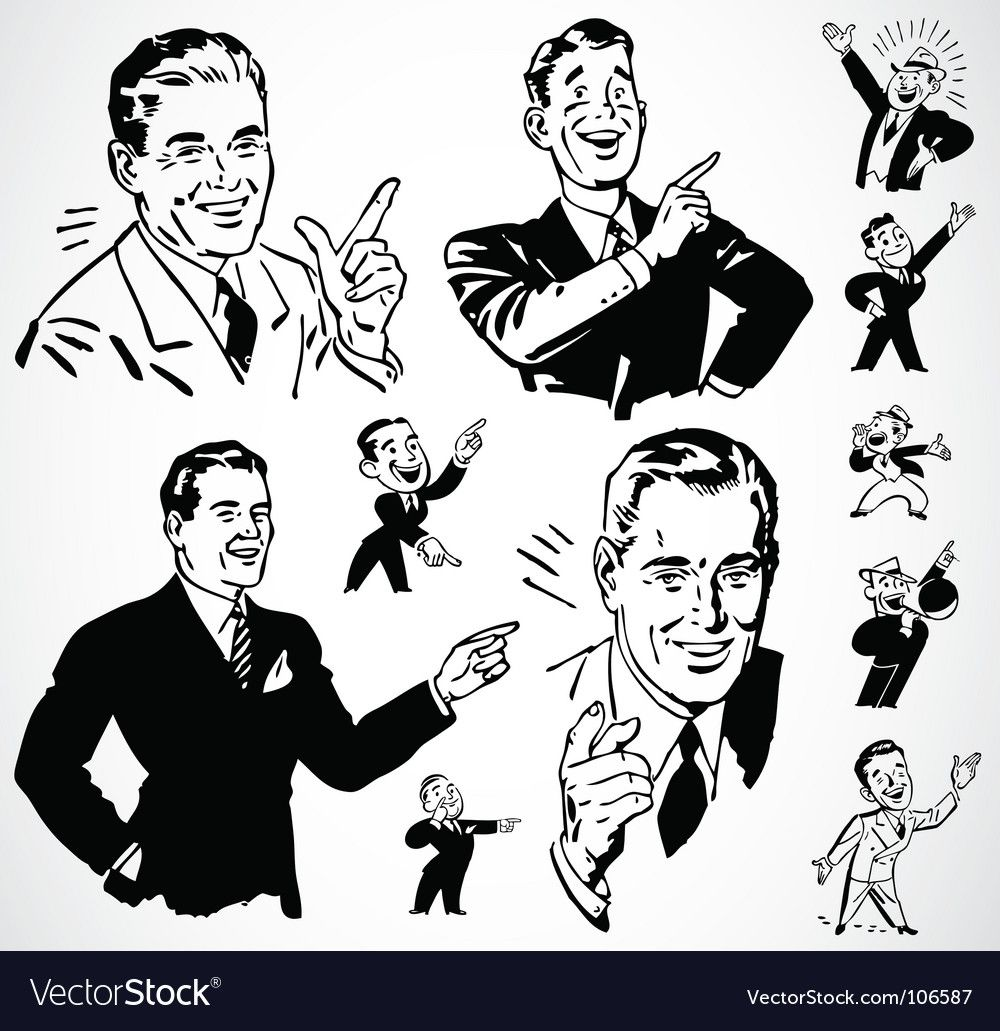 Retro Men Pointing Download A Free Preview Or High Quality Adobe Illustrator Ai Eps Pdf A Retro Illustration Vintage Graphic Design Vintage Illustration Art