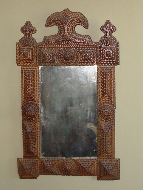 tramp art frame mirror full view