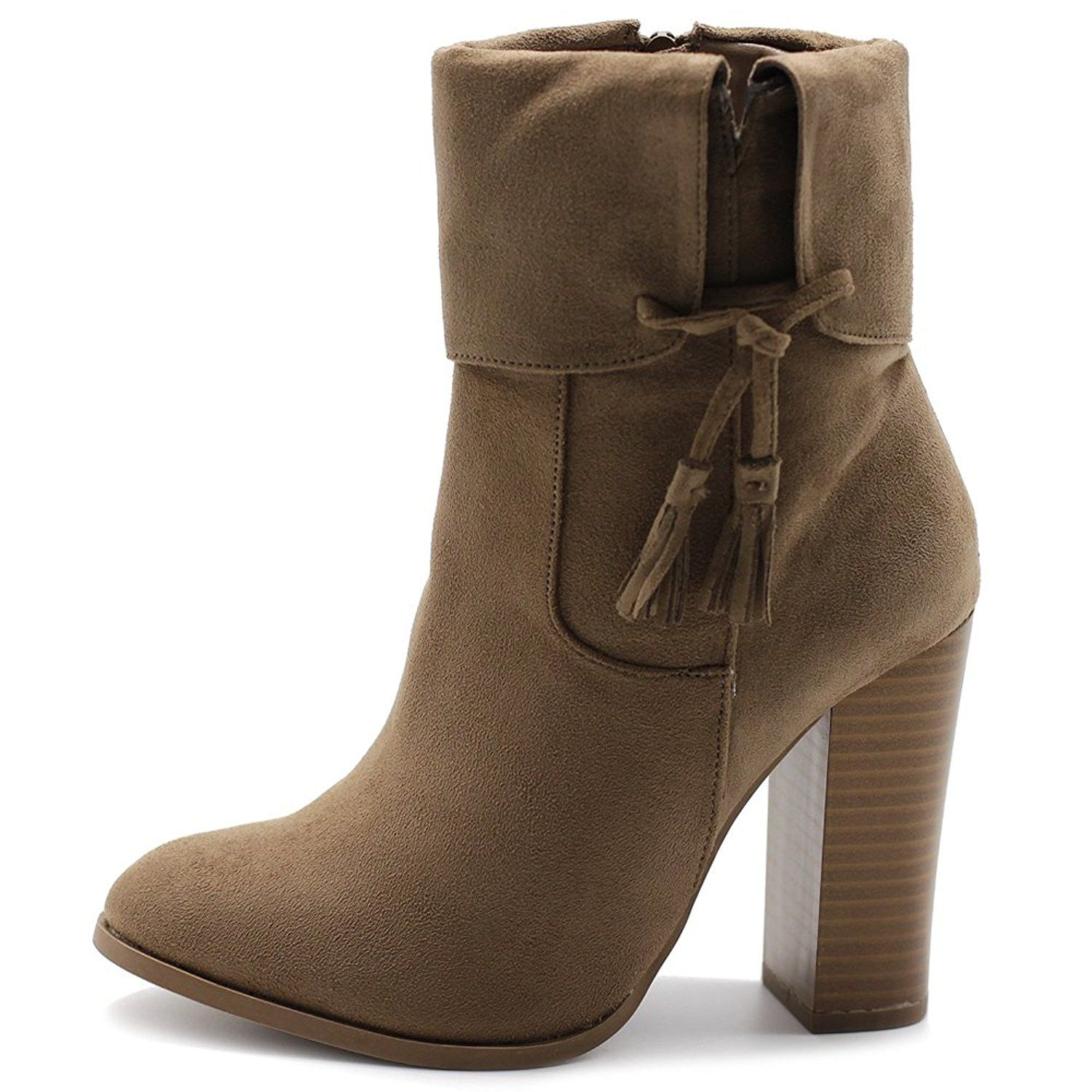 2321e3768e0 Ollio Women s Shoe Faux Suede Back Zip Up Stacked High Heel Tassel Ankle  Boots   To view further for this item