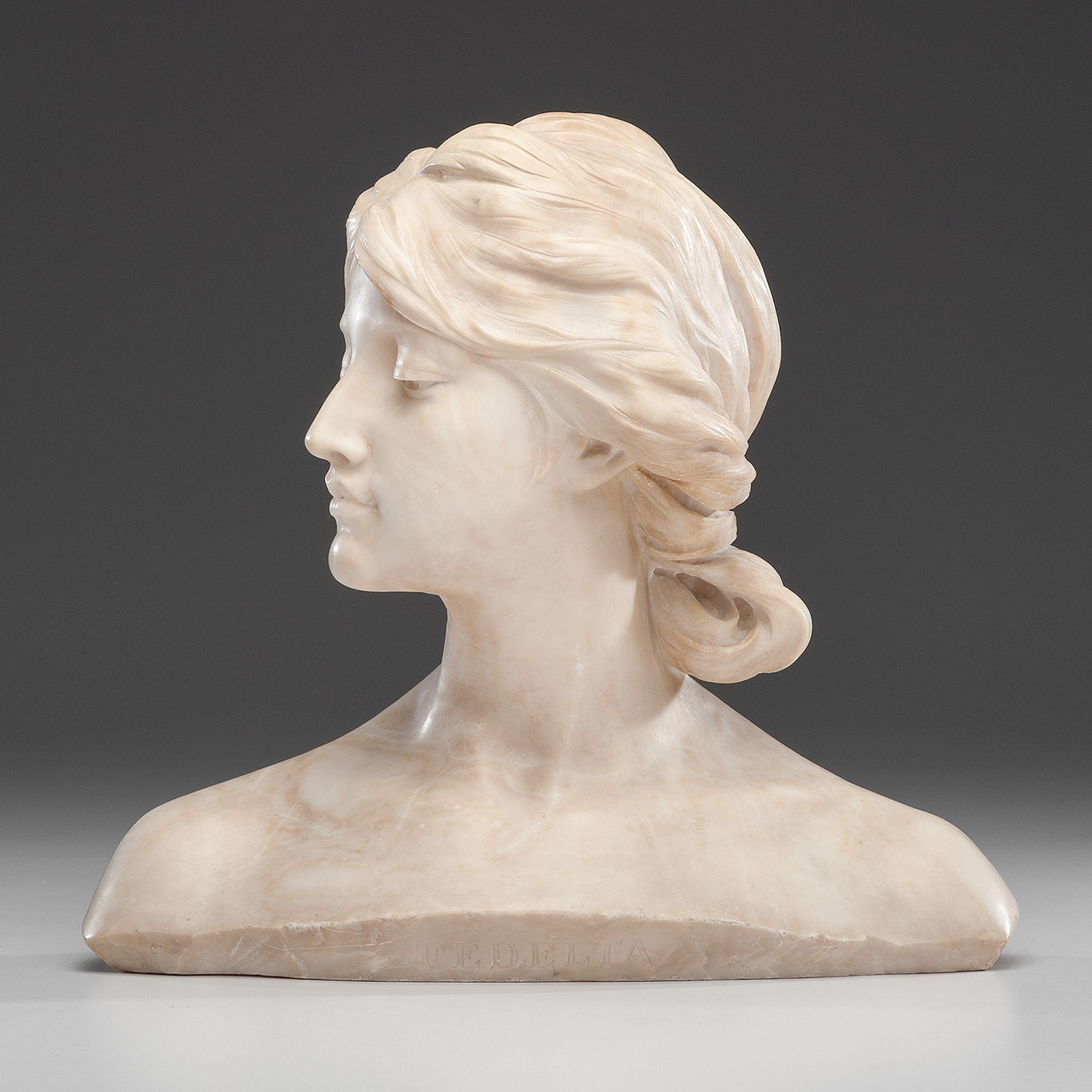 Ferdinando Vichi (Italian, 1875-1945) Fedelta, marble, inscribed on back Galleria F. Vichi Firenze