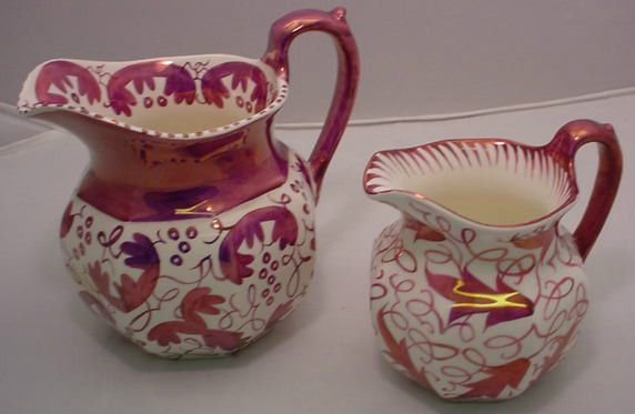 Pair of Pink Polychrome Luster Ware Etruria Wedgwood England Pitchers Feather | eBay