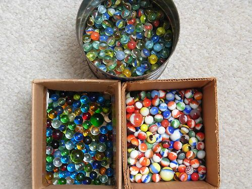 Vintage Marbles Huge Lot 10lbs Shooters Clearies Birdcage Cats Eye Puree Marble Bird Cage Vintage