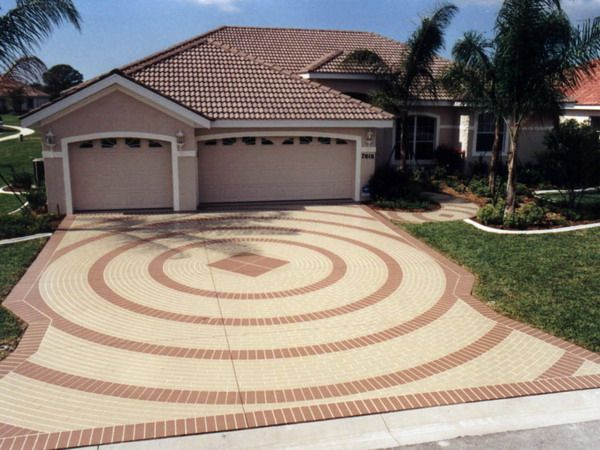 Driveway Circular Pattern Paving Model Image Patio In