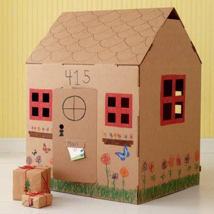 Casas De Carton Con Materiales Reciclados Casas De Carton Casas De Cajas De Carton Y Casa De Munecas De Carton