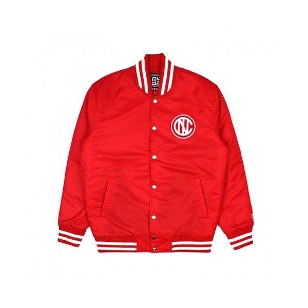 NASTY KICK VARSITY JACKET (RED) ❤ liked on Polyvore featuring red letterman jacket, red varsity jacket, college jackets, varsity jacket and red jacket
