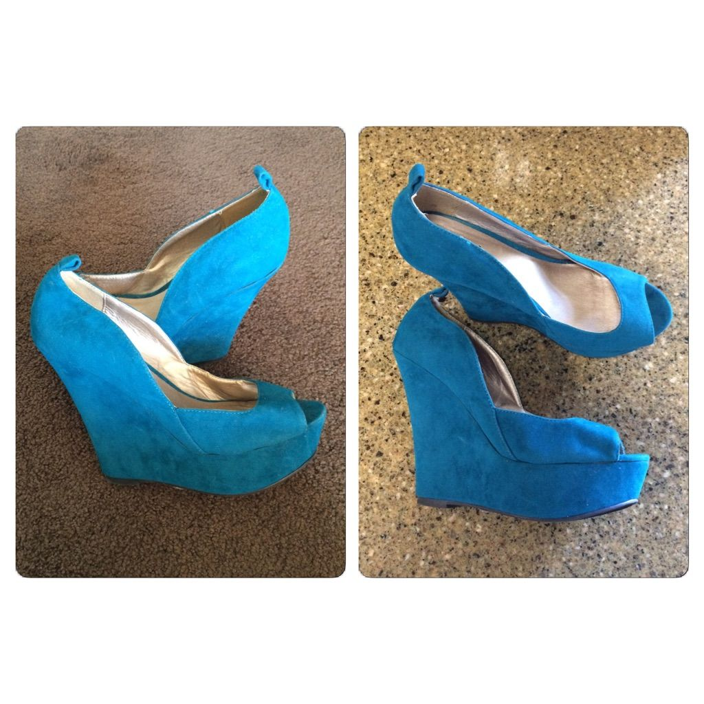 d442f3a6aff8ed Shop Women s Qupid Blue size Wedges at a discounted price at Poshmark. Two  small defects. Height about gorgeous color