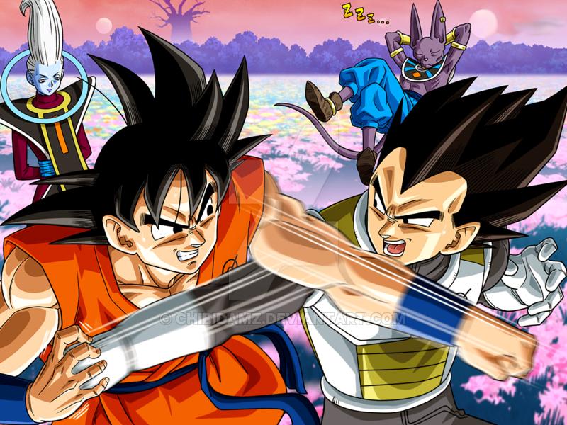 Goku Vegeta Whis Beerus By Chibidamz Dragon Ball Artwork Goku And Vegeta Anime