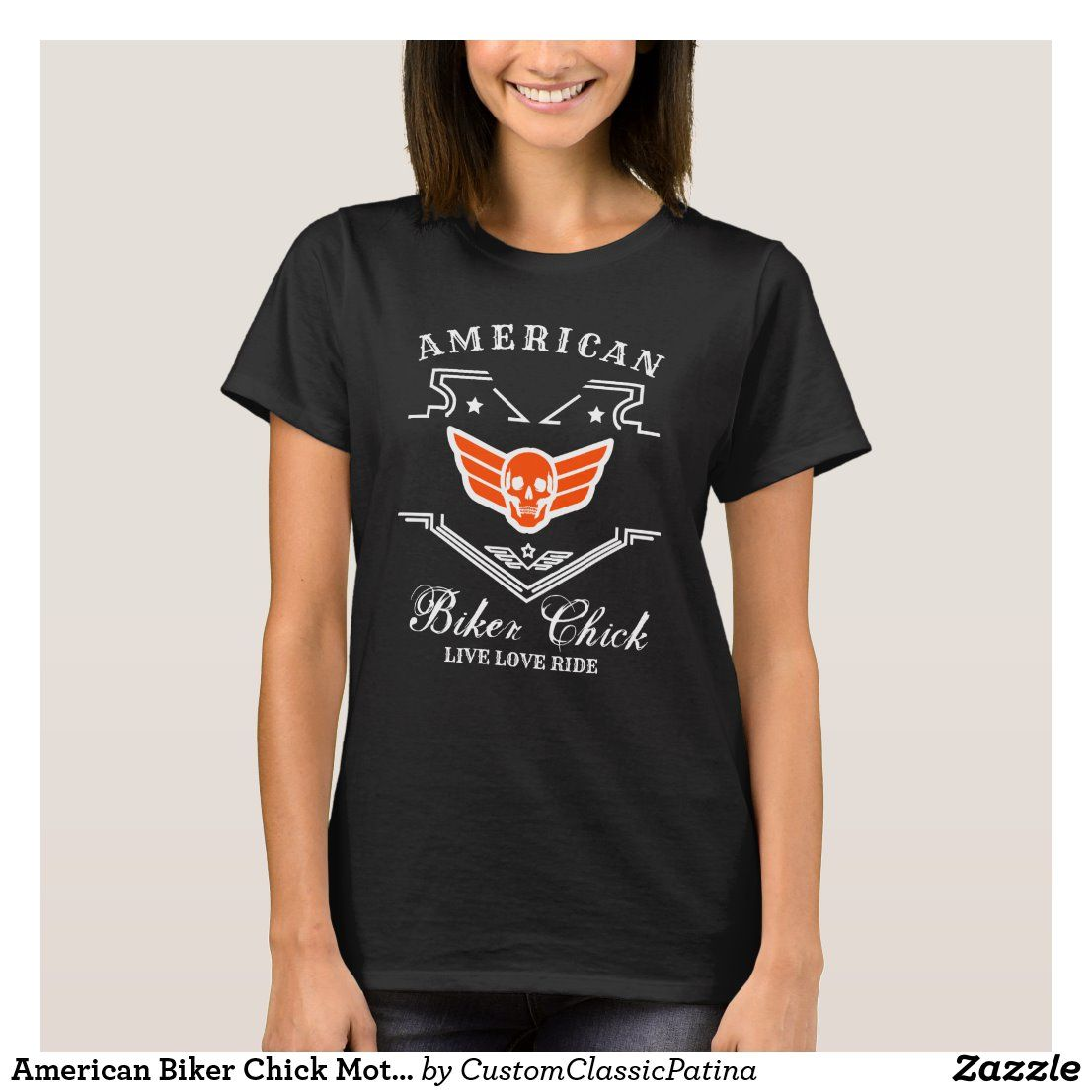 American Biker Chick Motorcycle Woman Rider T-Shirt | Zazzle.com
