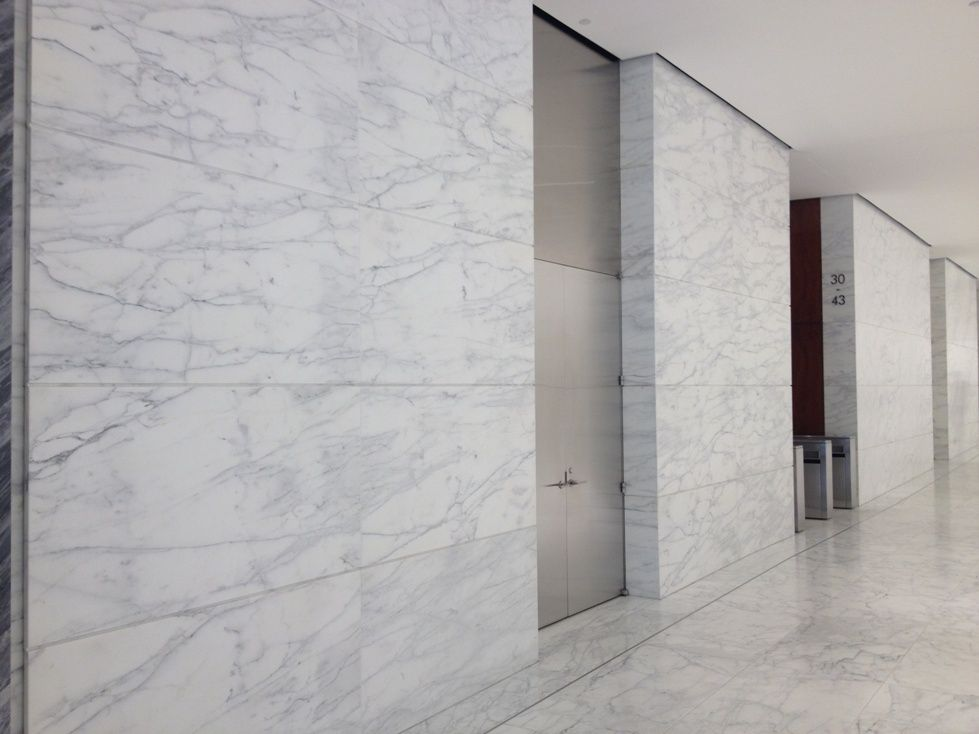 Marble Wall Panels : Caldia marble wall panels in a recently remodeled lobby