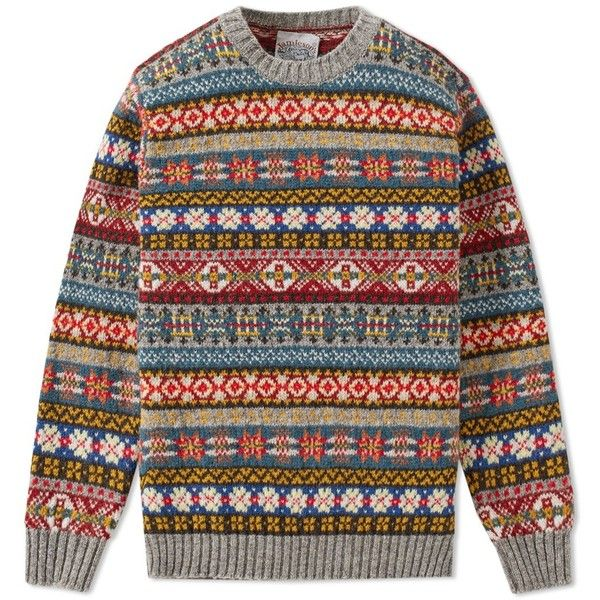 Jamieson's of Shetland Fair Isle Crew (€160) ❤ liked on Polyvore featuring men's fashion, men's clothing, men's sweaters, mens crewneck sweaters, mens fair isle sweater and mens crew neck sweaters