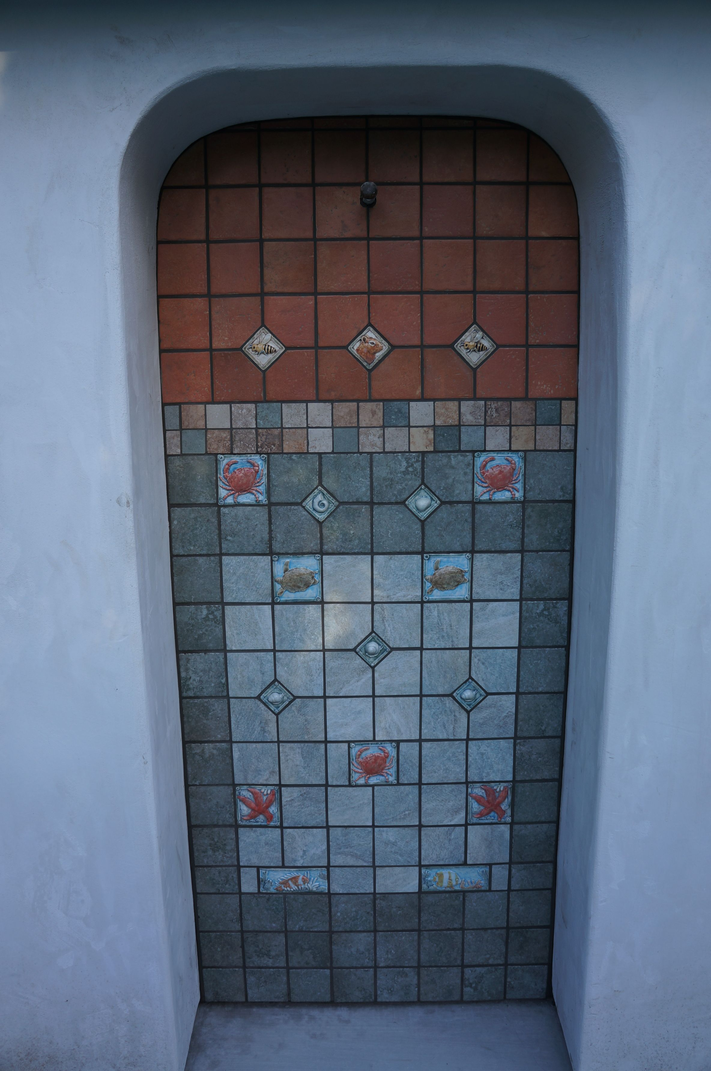 Outdoor shower area using my seascape tiles and a few wildlife tiles ...