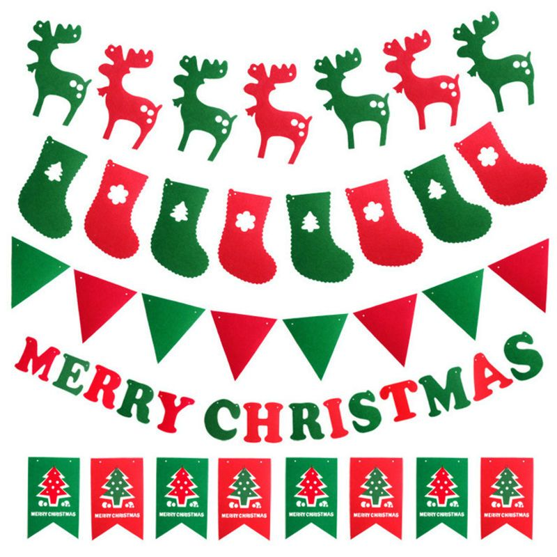 MERRY CHRISTMAS PENNANT FLAG BANNER GARLAND PARTY HANGING DECORATION RED GREEN