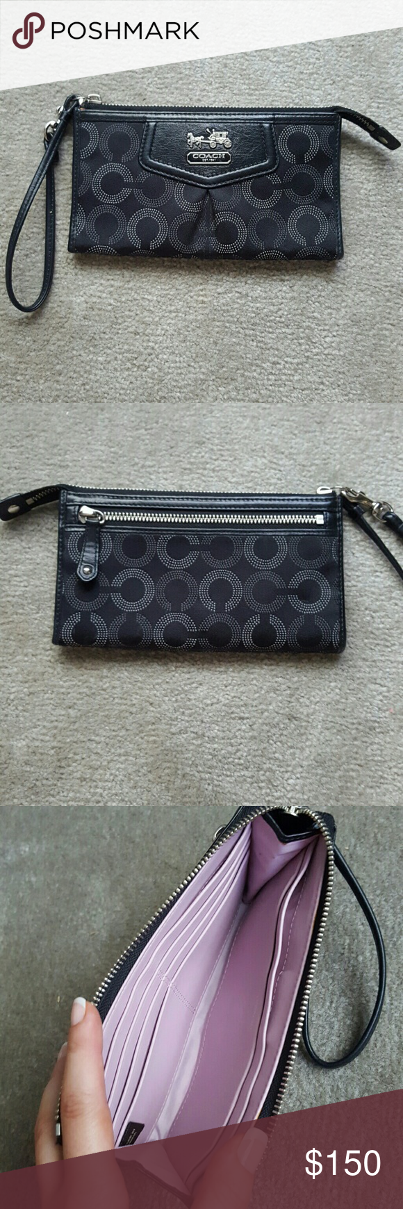 NEW! Coach Signature Wristlet BRAND NEW! PERFECT CONDITION! Black Coach Signature Wristlet with beautiful Pink interior lining. Wristlet Wallet - Zipper on back - Plenty of room inside for all of your money, cards, etc. No trades. Coach Bags Clutches & Wristlets