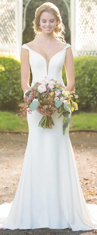 Detachable skirt wedding dress  Graceful Satin Offtheshoulder Neckline Cutout Back Mermaid