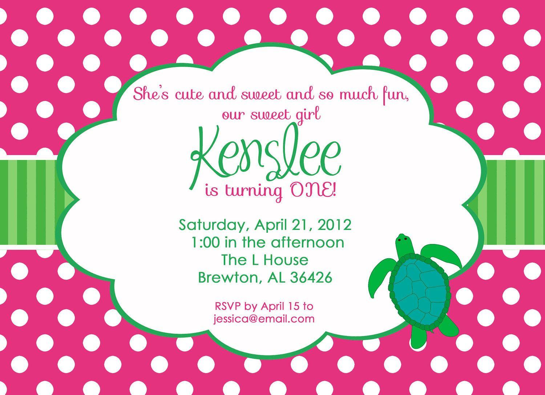 Preppy Turtle Birthday Party Invitation, GIRL or BOY version ...