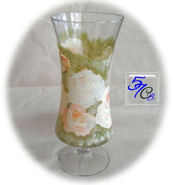 Hand Painted GLASS VASE Vase Flower Vase Glass By
