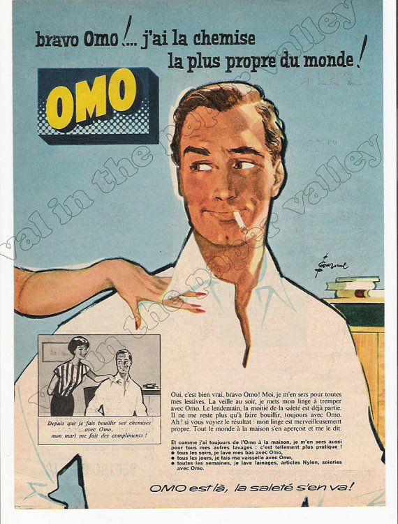 1950 39 s french omo laundry detergent advertisement french ad handsome man with cigarette. Black Bedroom Furniture Sets. Home Design Ideas