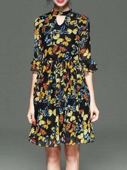 Multicolor Pleated Bell Sleeve Animal Print Midi Dress