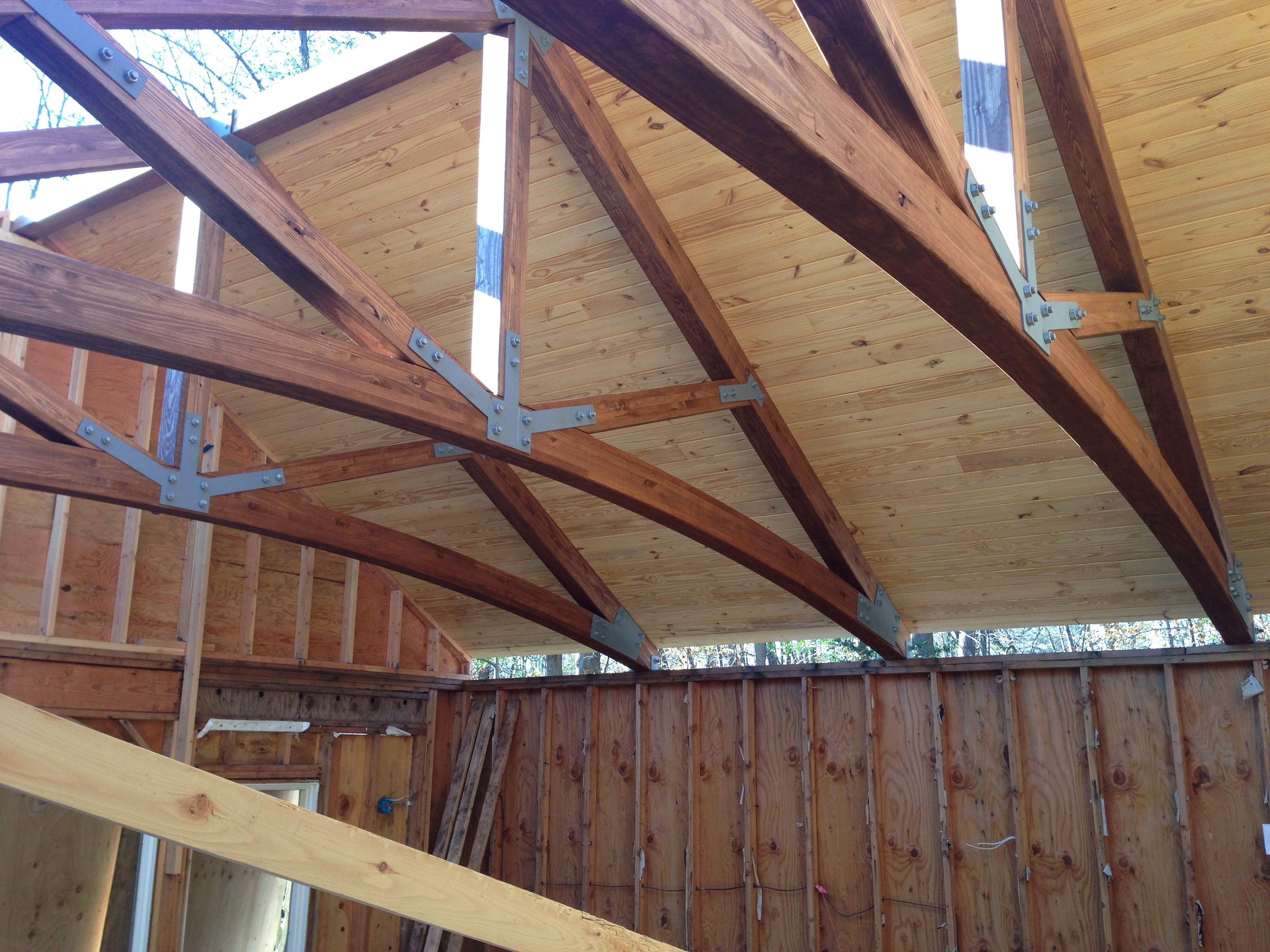 Another shot of our glulam truss for a pool house now with for How much are trusses