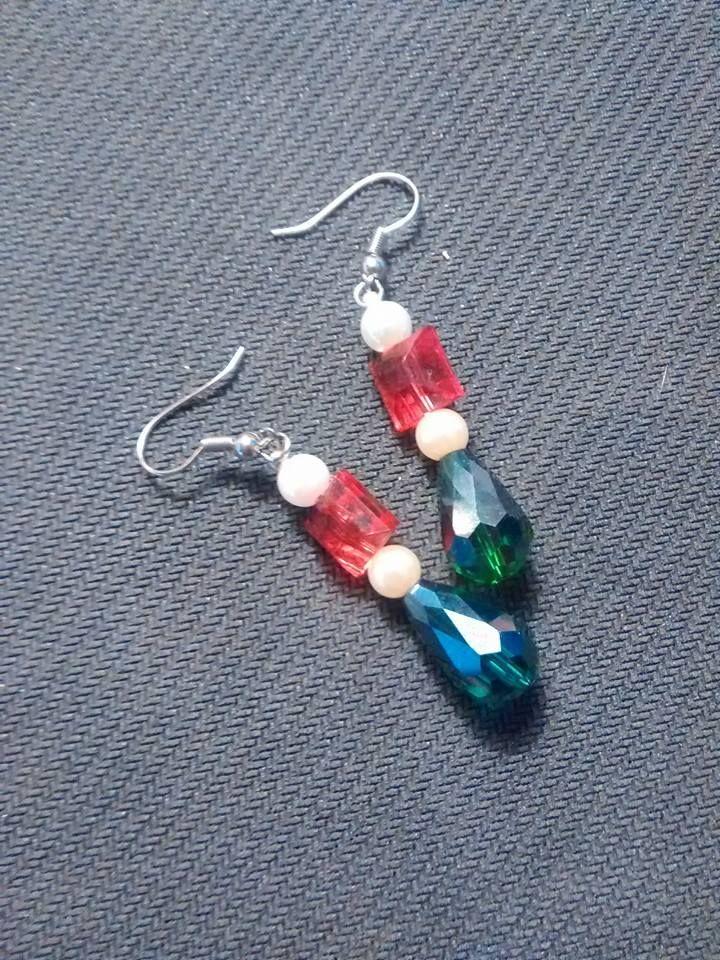 glass and pearl earrings.