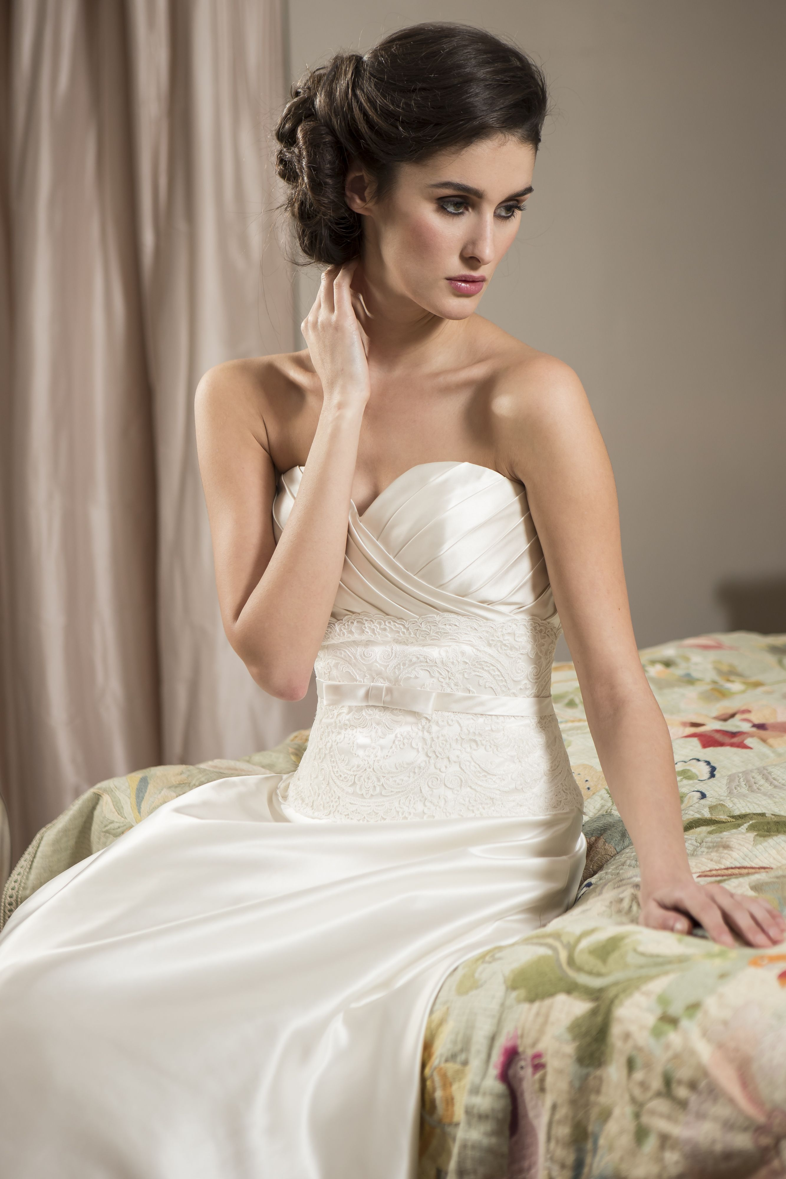 W timeless soft satin aline bridal gown with pleated strapless