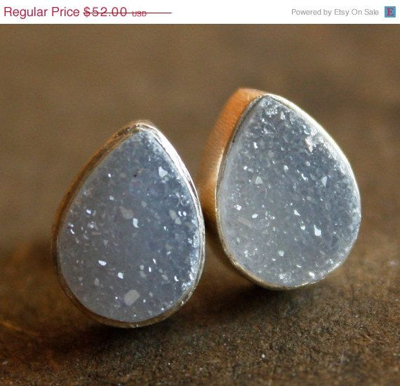 BOXING DAY SALE Sale Soft White Gray Druzy Stud Earrings by OhKuol, $41.60