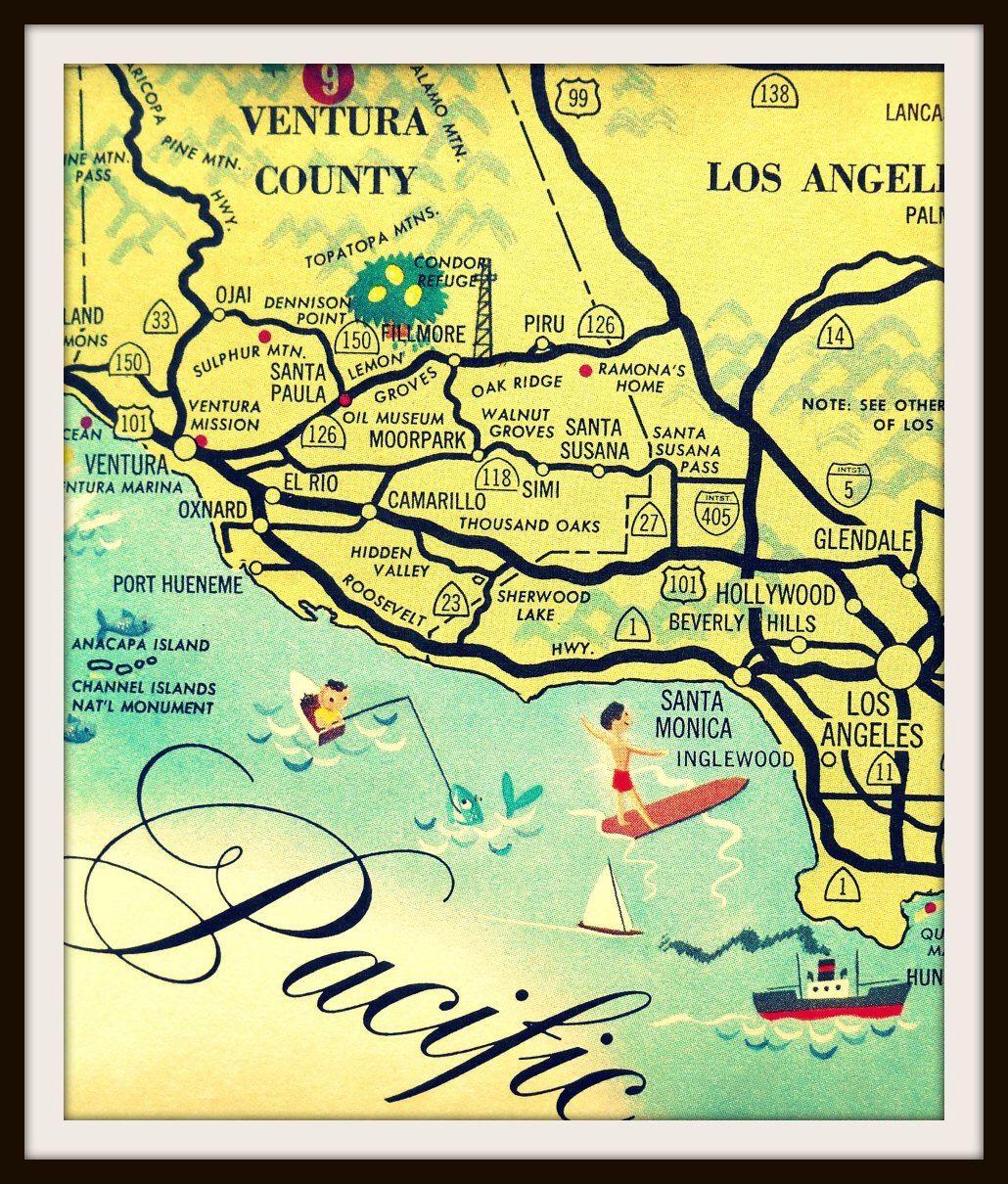Vintage California Art Los Angeles Map Santa Monica Map Ventura