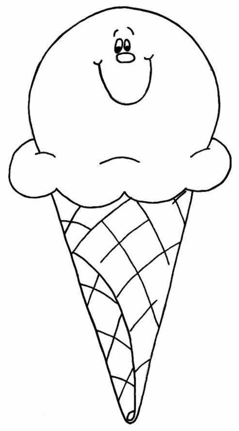 Ice Cream Cone With Face Ice Cream Coloring Pages Ice Cream