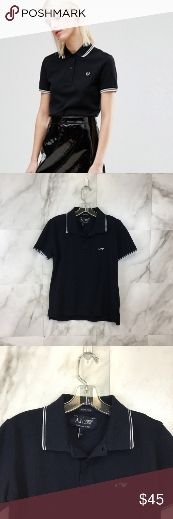 60de2581 Armani Jeans Fred Perry Twin Tipped Polo - Size L Armani Jeans Fred Perry Twin  Tipped