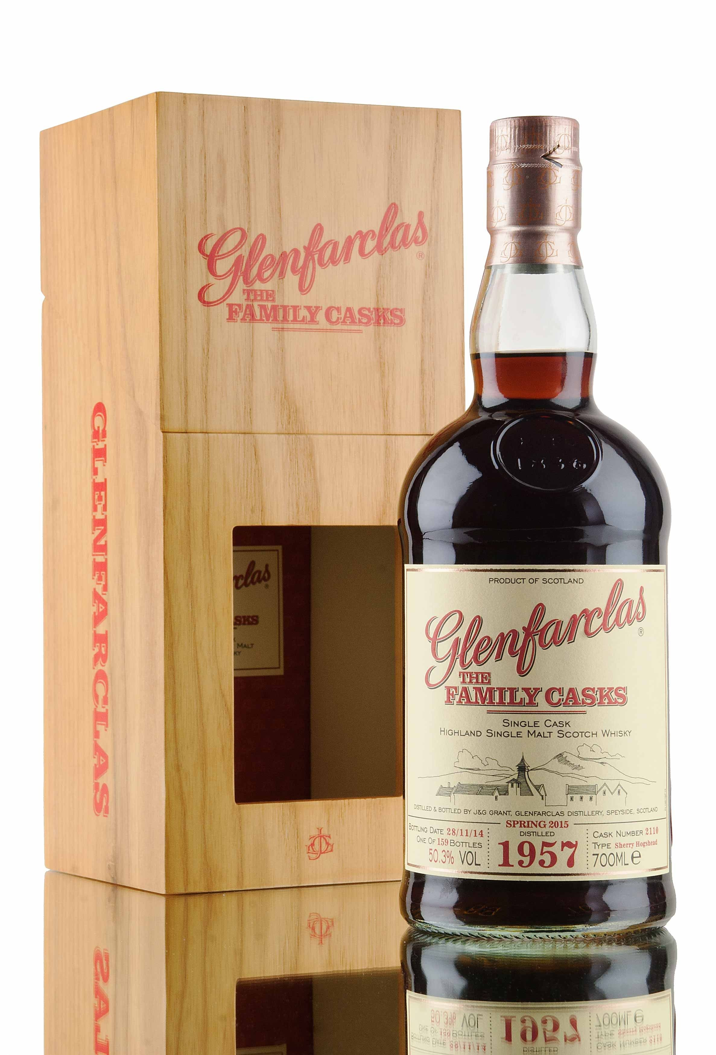 Another stunning single cask from Glenfarclas distillery, released as part of the Spring 2015 Family Casks range. Distilled in 1957 and left to mature in single sherry hogshead cask #2100 for approximately 57 years! A mere 159 bottles filled at cask strength, 50.3% vol. Glenfarclas 1957 single cask 2110, recently awarded Single Cask of the Year and Scotch Single Malt of the Year in Jim Murray's 2016 whisky bible, with a score of 96.5/100!