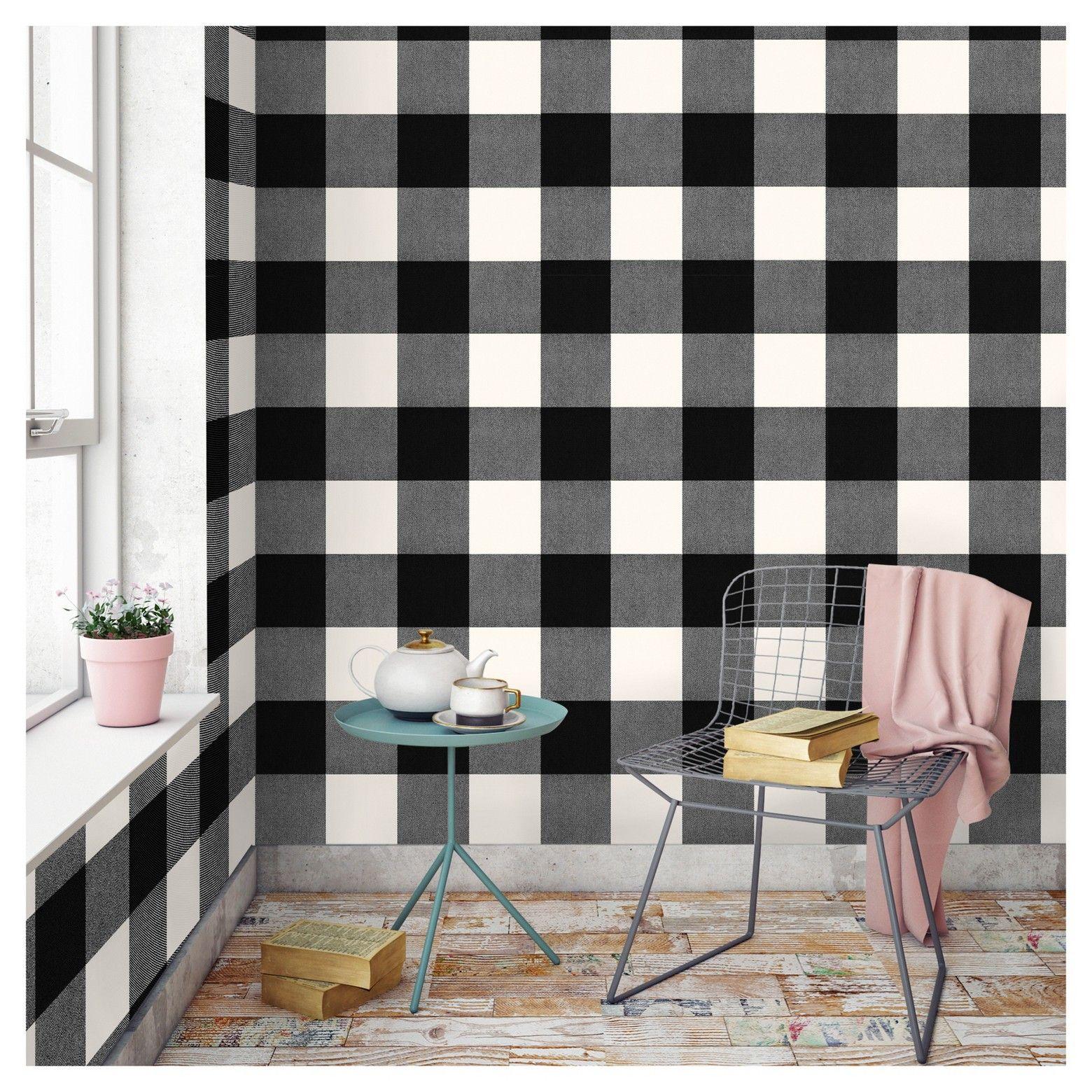 Buffalo Plaid Peel Stick Wallpaper Black Threshold Peel And Stick Wallpaper Plaid Wallpaper Buffalo Plaid