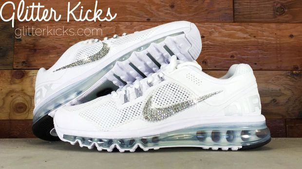 5d42209dfbc5 Nike Air Max 360 Running Shoes By Glitter Kicks - Customized With Swarovski  Crystal Rhinestones - White White