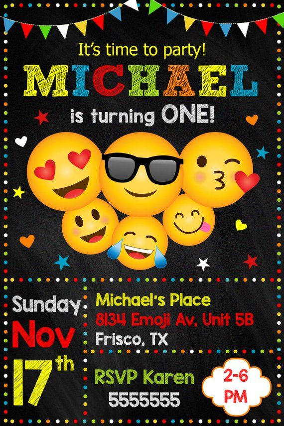 Emoji Party Invitation Birthday Emojis Printable Card