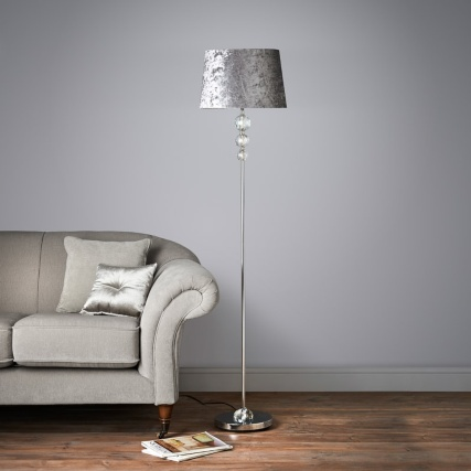 Luxe Crystal Floor Lamp With Velvet Look Shade Silver Floor Lamp Silver Floor Lamp Ceiling