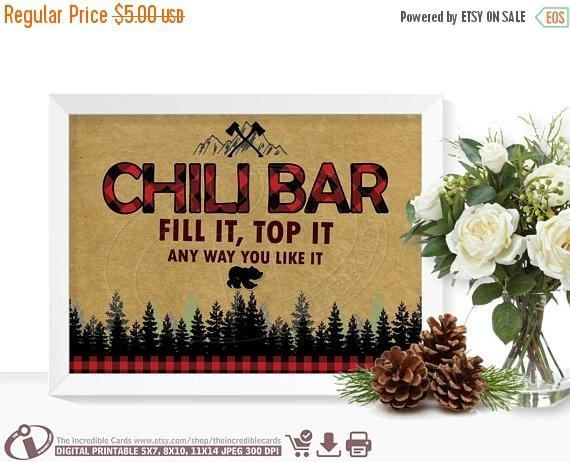 Chili bar sign LUMBERJACK Chili bar sign Lumberjack First Birthday Party, Lumberjack baby shower Buffalo Plaid, Instant Download #chilibar ON SALE Chili bar sign LUMBERJACK Chili bar sign Lumberjack #chilibar