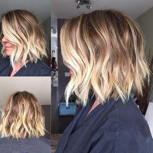 Balayage short hair with layers