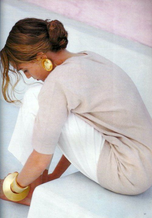 Neutrals with gold jewelry...understated and classic