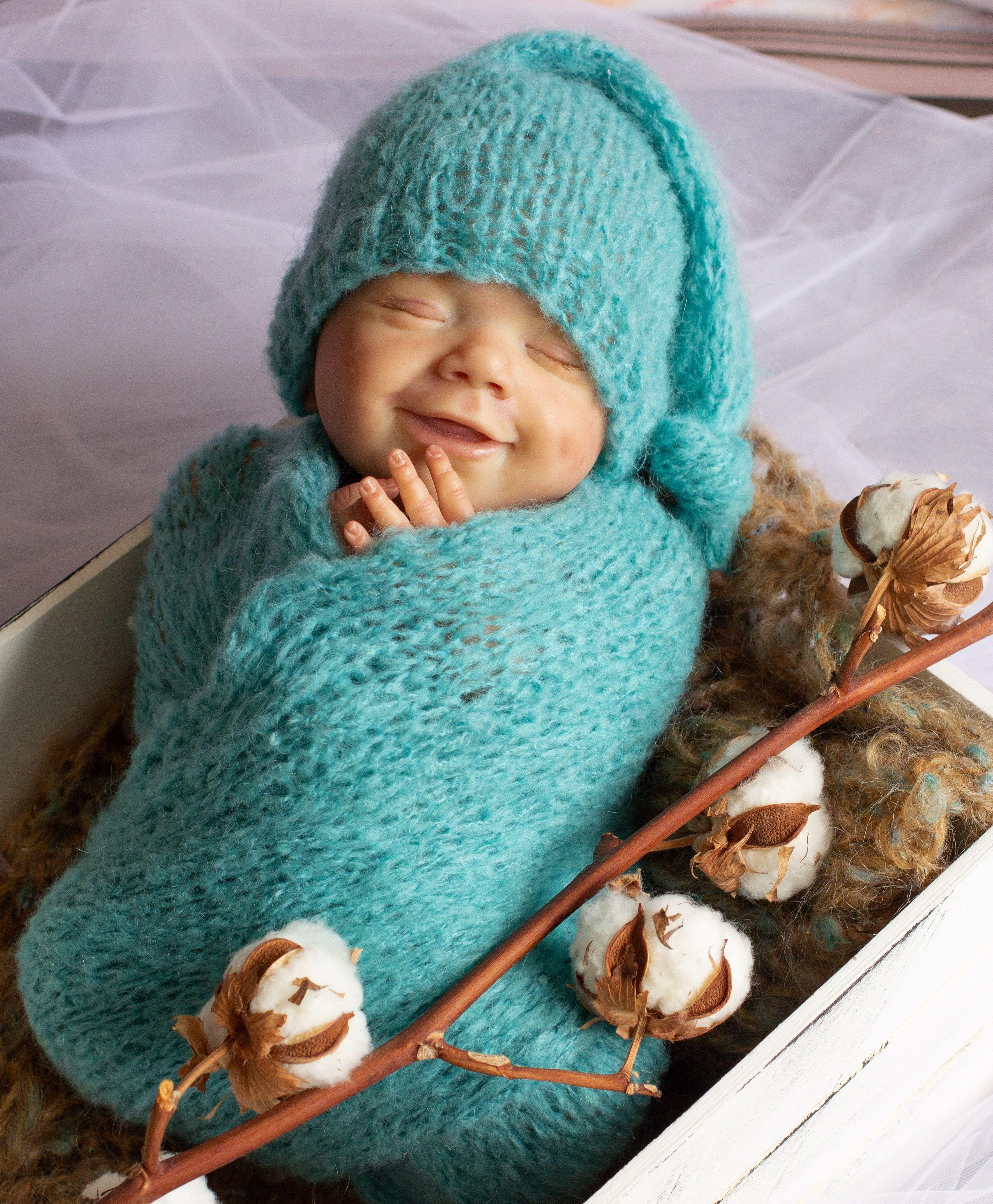 NEWBORN Photo Prop Fuzzy Bear  bonnet and wrap set Knitted Newborn Prop