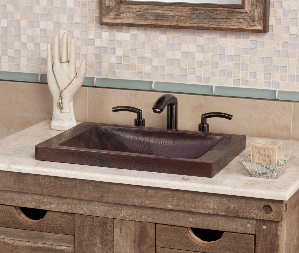 Hand Hammered Copper Sink Bathroom Design Ideas Rustic