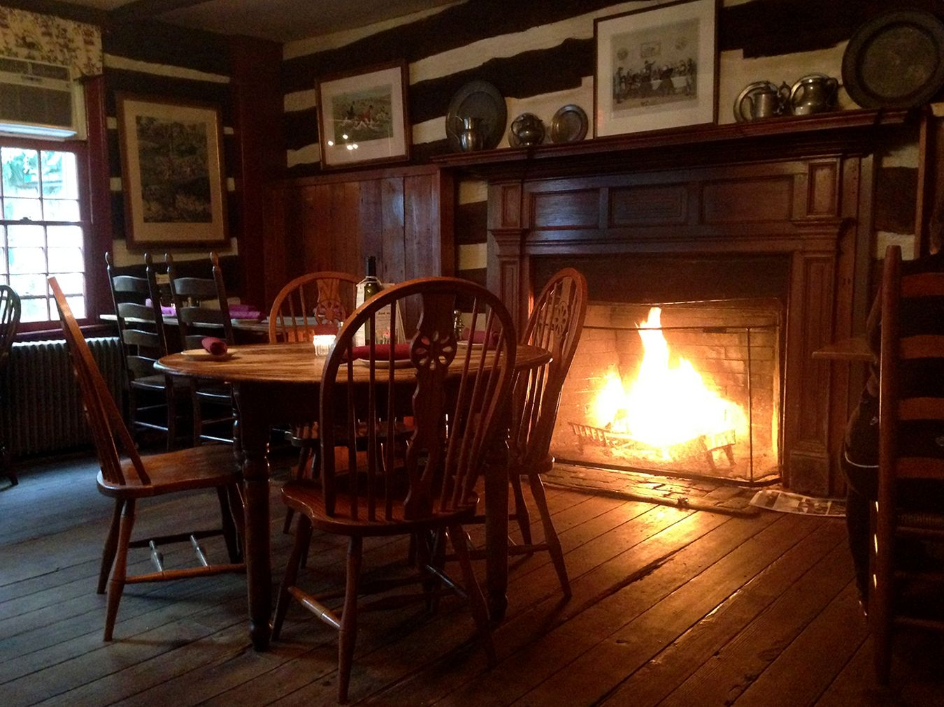 A cozy fire in the dining room of the Hunter's Head Tavern in Upperville, VA.  From ShenandoahLivingBlog.com