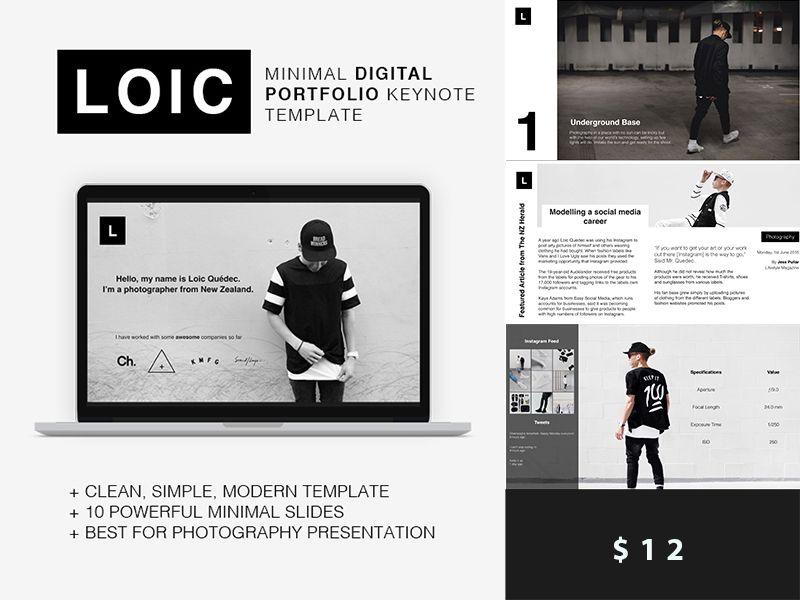 Loic - Minimal Digital Portfolio Keynote \/ PowerPoint Template 1 - keynote template