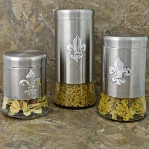 Fleur De Lis Canister Set Stainless Steel Decor Le
