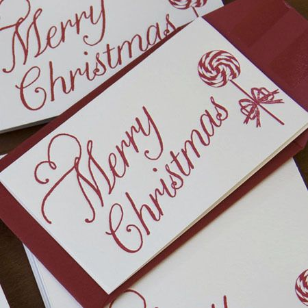 Peppermint letterpress enclosure cards business card size holiday cute holiday gift tags business card size reheart Choice Image