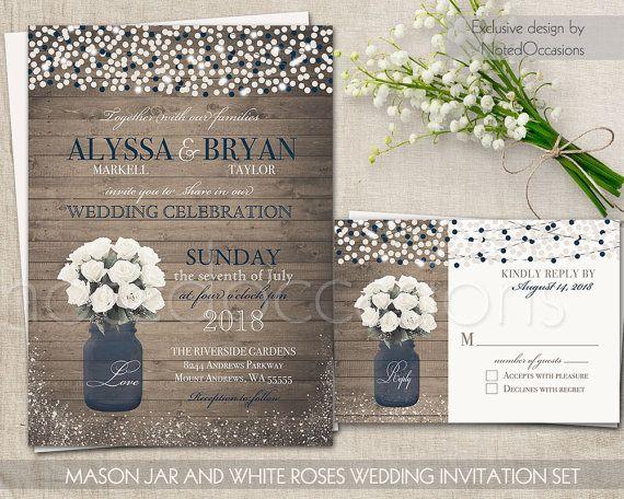 Navy Blue Wedding Invitations: Rustic Printable Wedding Invitation Mason Jar Wedding