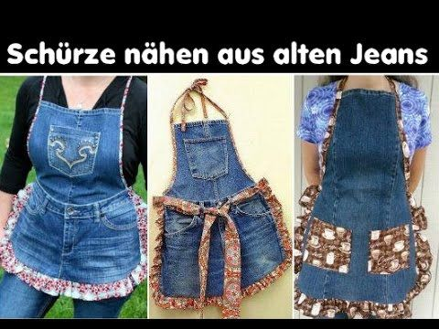 Schürze nähen | Kochschürze nähen aus alten Jeans & Stoffresten ...